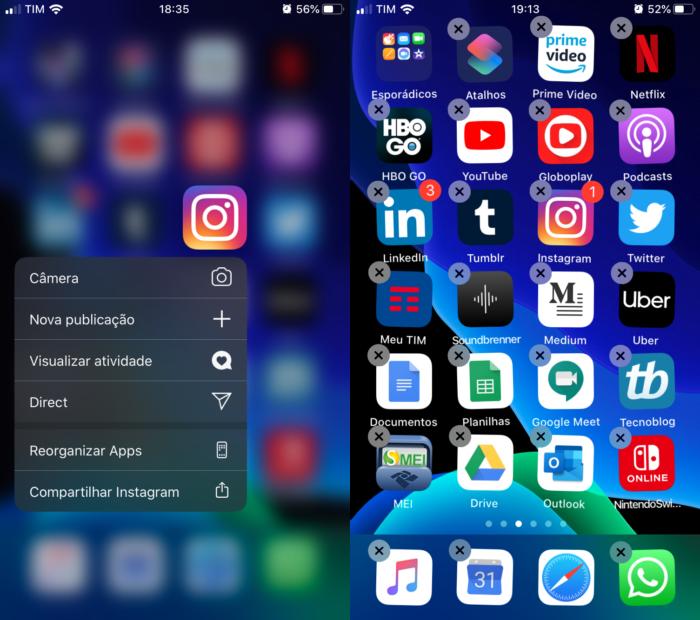 menu rápido de app no iOS 13