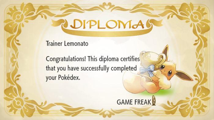 diploma por completar a pokédex em pokémon let's go