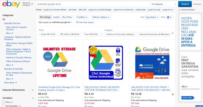 eBay und Google Drive Unlimited