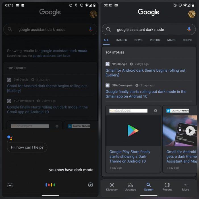 Google reik die donker modus vir die toepassing en soekassistent 1 uit