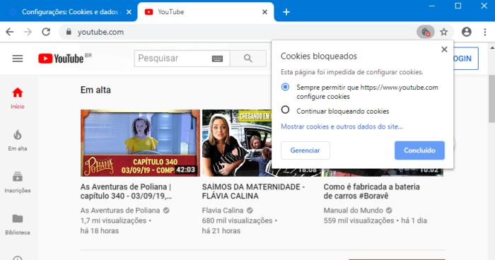 Google Chrome Canary bloqueia cookies de terceiros