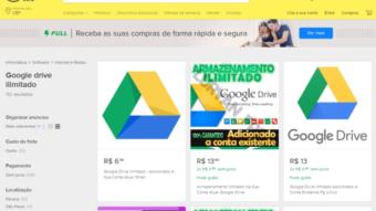"""""""Google Drive ilimitado"""": Mercado Livre remove anúncios por violarem termos de uso"""