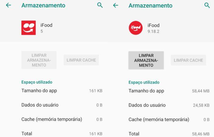 Versão leve do iFood (esquerda) comparado ao aplicativo tradicional (direita)