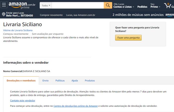 Livros da Saraiva dentro da Amazon