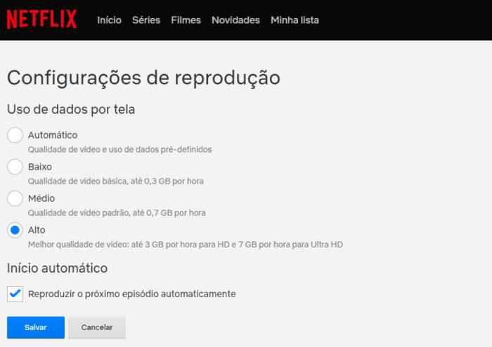 Netflix / configurações de qualidade / netflix em dolby vision
