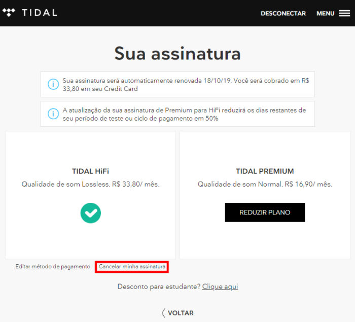Tidal / cancelar tidal