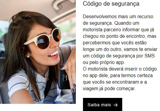 Uber código de segurança