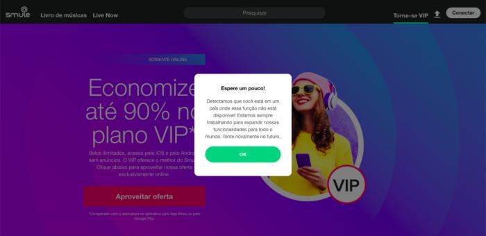 tela do site sobre o Vip do Smule
