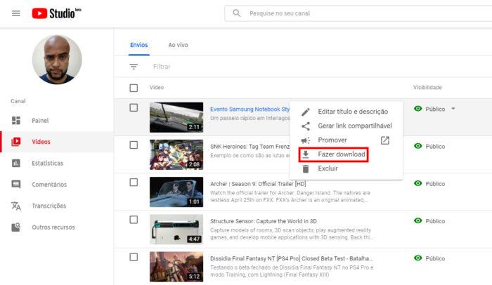 YouTube Studio (Beta) / Como baixar o seu próprio vídeo do YouTube