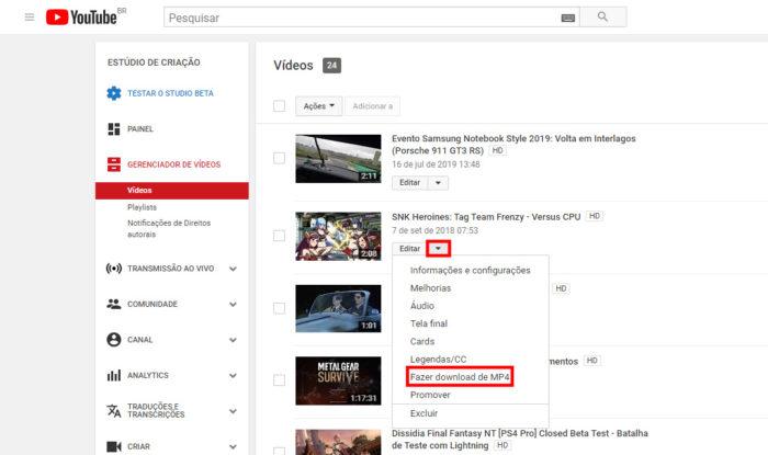 YouTube Studio (Classic) / Como baixar o seu próprio vídeo do YouTube