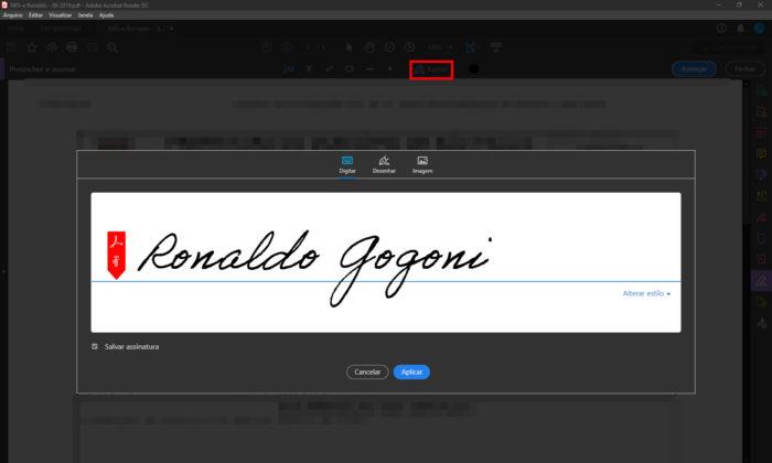Adobe Reader / como fazer assinatura digital