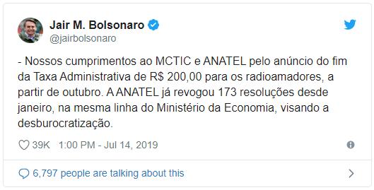 Nossos cumprimentos ao MCTIC e ANATEL pelo anúncio do fim da Taxa Administrativa de R$ 200,00 para os radioamadores, a partir de outubro. A ANATEL já revogou 173 resoluções desde janeiro, na mesma linha do Ministério da Economia, visando a desburocratização.