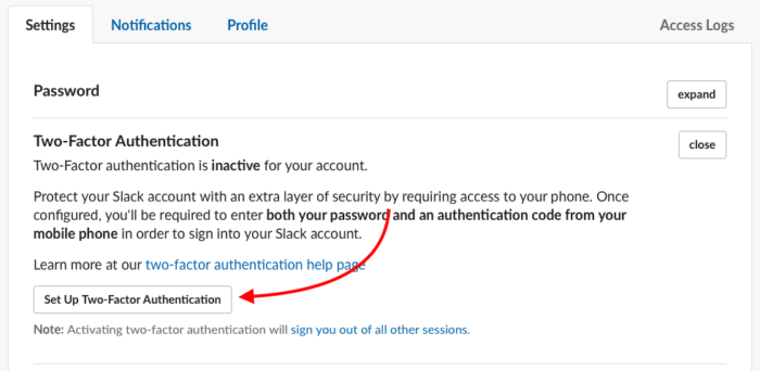 tela de configurar verificação em duas etapas do slack