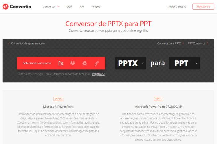 Convertio / Como converter PPTX para PPT