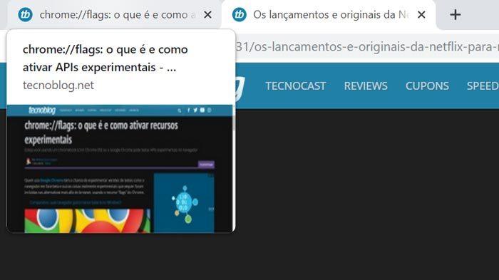 Prévias de abas no Google Chrome 78