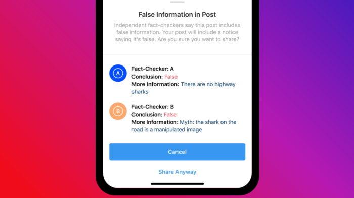 Instagram e notícia falsa