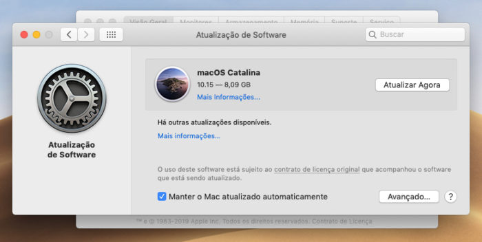 Apple / atualização para macOS Catalina