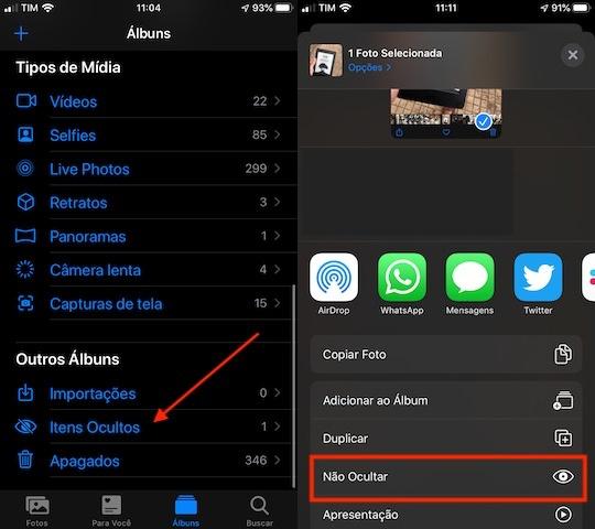 Itens ocultos da galeria do iPhone (Imagem: Reprodução/Apple)