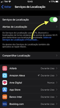 opção de desligar localização do iphone