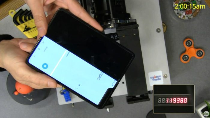 Teste de dobradiça do Galaxy Fold