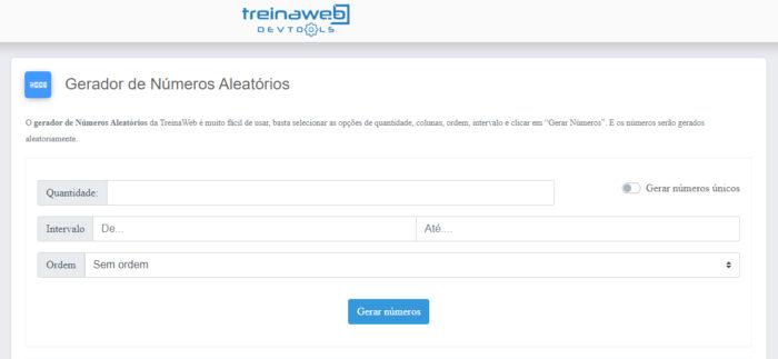 TreinaWeb / gerador de números aleatórios