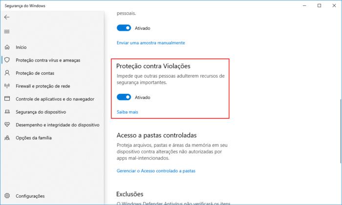 Windows 10 - Proteção contra Violações