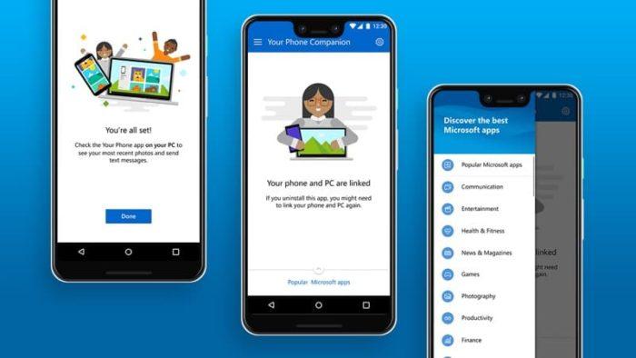 Microsoft / Complemento para Seu Telefone / android no windows 10