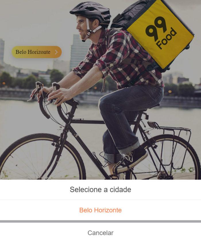 Página do 99Food para entregadores só permite selecionar a cidade de Belo Horizonte