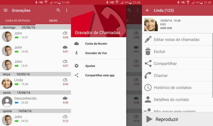 Android / Appliqato / gravador de chamadas