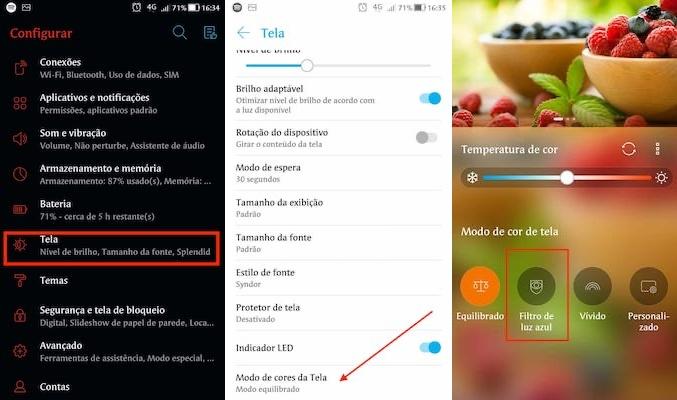 configurar filtro de luz azul no telefone Asus