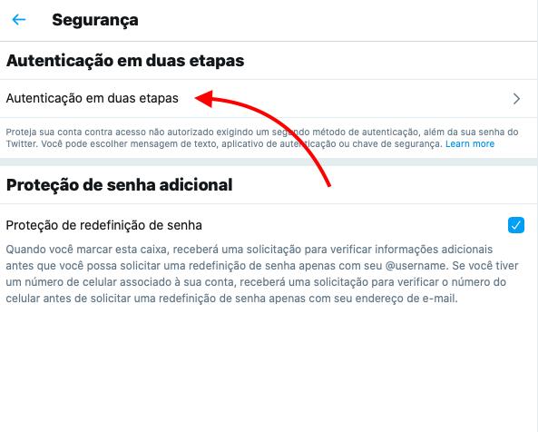 configurar autenticação em dois fatores do twitter