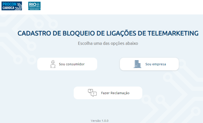 Cadastro bloqueio telemarteking Rio de Janeiro