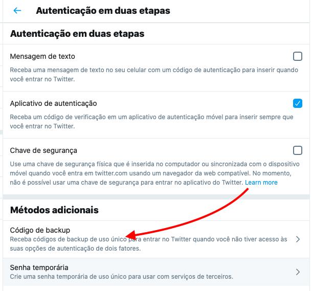 código de backup da verificação em duas etapas do twitter