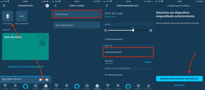 conectar amazon echo ao celular via Bluetooth