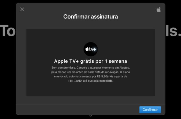Confirmar assinatura Apple TV Plus
