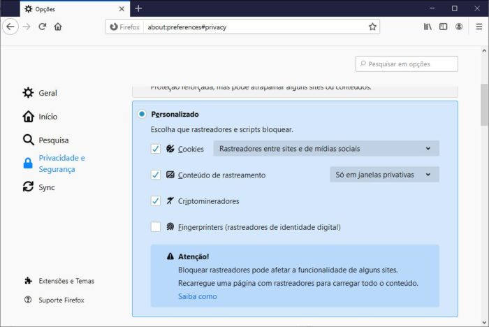 Firefox - Fingerprinters