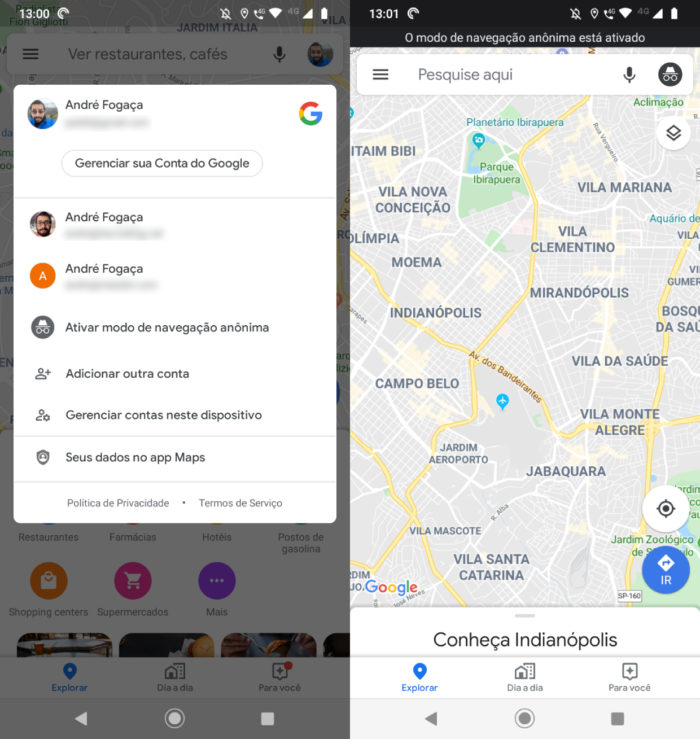 google maps modo anonimo tela