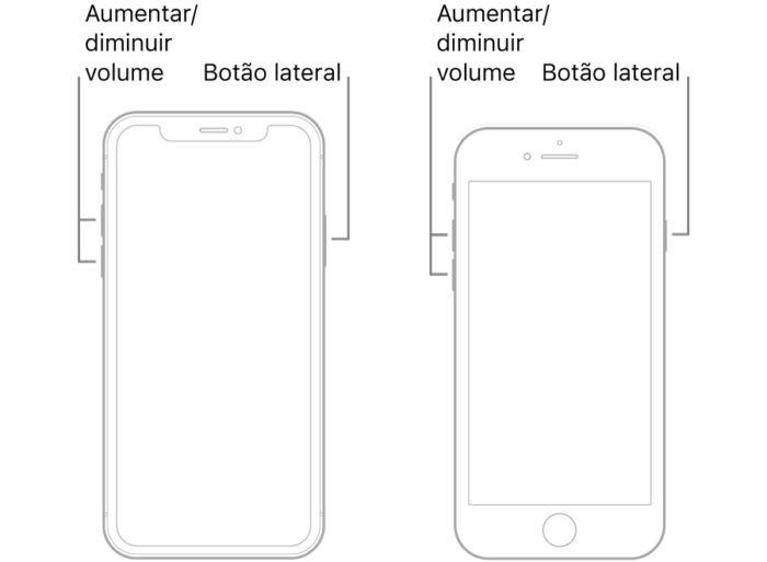 Apple / iPhone 8 e posteriores / como reiniciar iphone