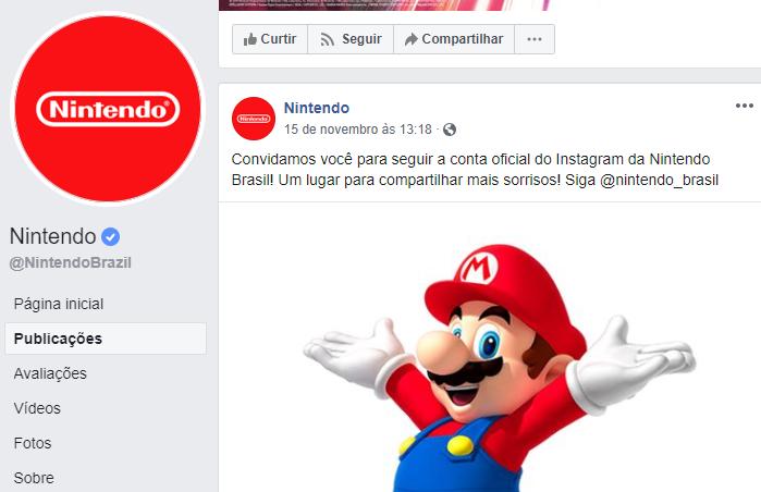 Nintendo Brasil no Instagram