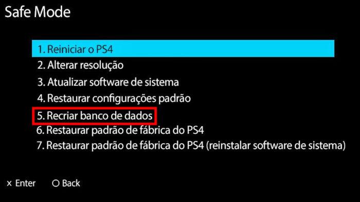 Modo de Segurança do PS4 / PS4 lento