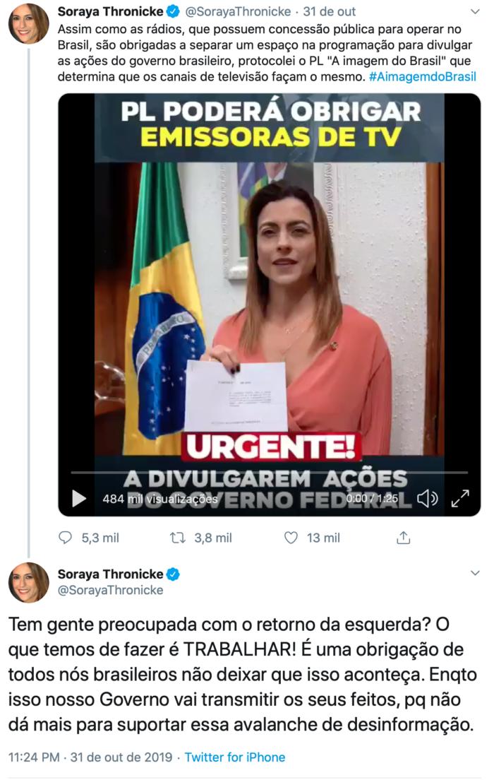 Assim como as rádios, que possuem concessão pública para operar no Brasil, são obrigadas a separar um espaço na programação para divulgar as ações do governo brasileiro, protocolei o PL