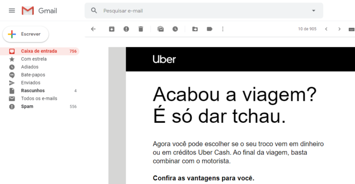 Uber Cash troco