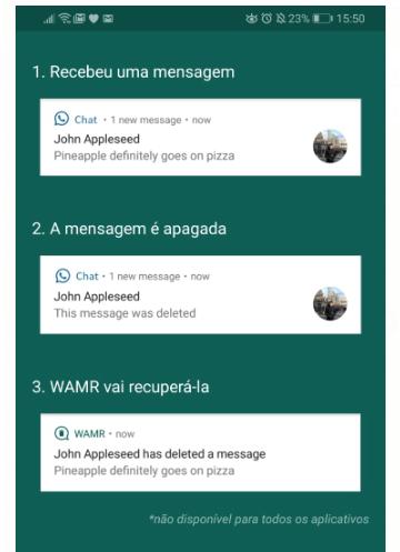 Warm recupera mensagem apagada no WhatsApp