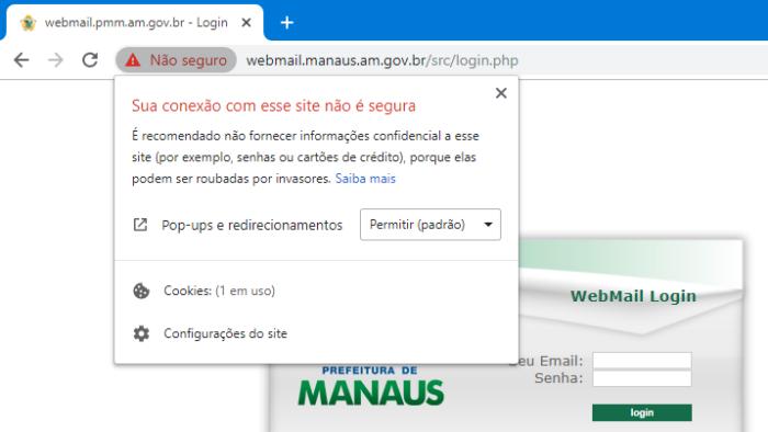 Webmail Manaus sem HTTPS