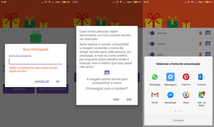 Android / Amigo Secreto Natal e Ano Novo / sorteio de amigo secreto
