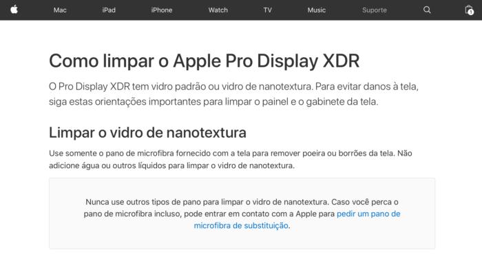 Apple ensina como limpar Pro Display XDR com nanotextura