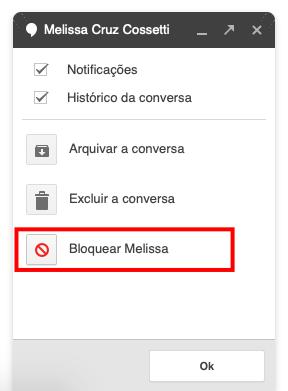 bloquear alguém no google hangouts