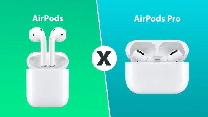 comparativo airpods tradicional para o airdpods pro
