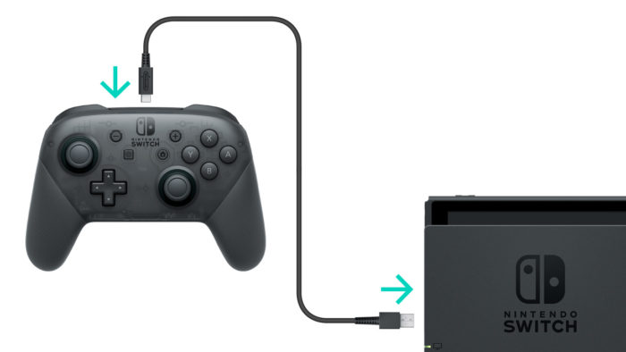 connect the pro controller to the switch via cable