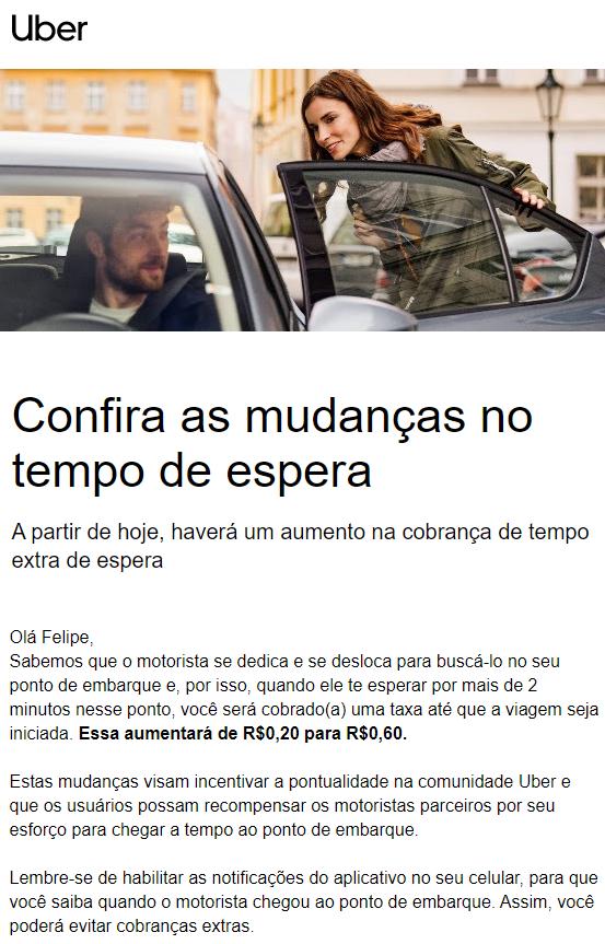 Uber e aumento da taxa de espera em Santos